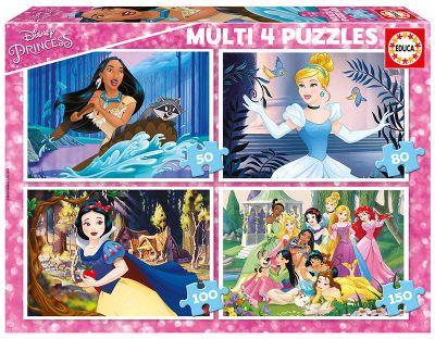 MULTI 4 PUZZLES PRINCESAS DISNEY 50+80+100+150--17637