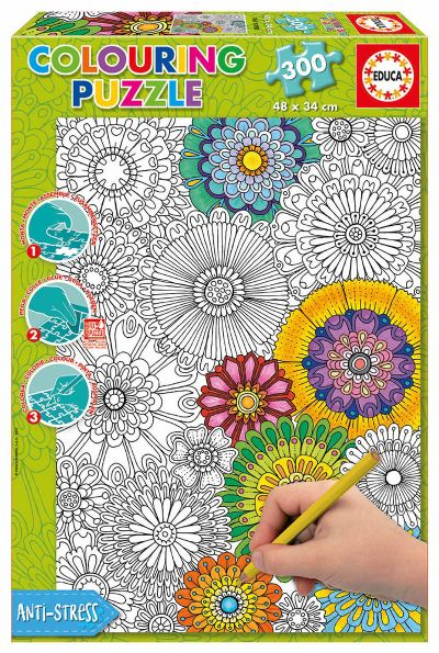 PUZZLE 300 BIG BEAUTIFUL BLOSSOMS ´COLOURING PUZZLE´17090