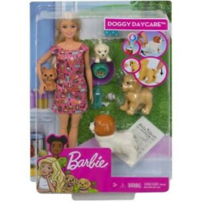 MUÑECA BARBIE Y SU GUARDERÍA DE PERRITOS