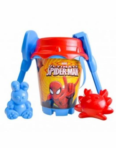 CUBO PLAYA CASTILLO 18 CM ULTIMATE SPIDERMAN CON PALA, RASTRILLO Y MOLDE
