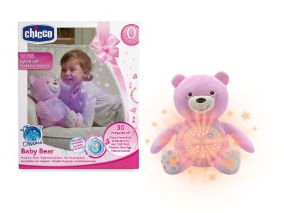 PELUCHE PROYECTOR MUSICAL BABY BEAR ROSA